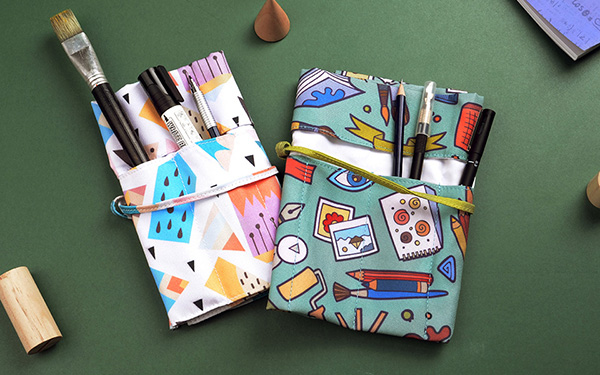 Roll Up Canvas Pencil Holder