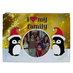 Penguin I Love My Family Cosmetic Bag (xxl) By Kim Blair Front