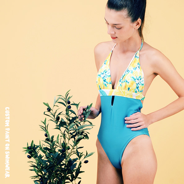 CUSTOM HALTER CUT-OUT ONE PIECE SWIMSUIT