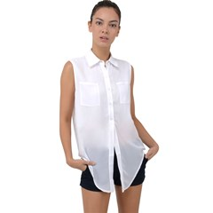Sleeveless Chiffon Button Shirt