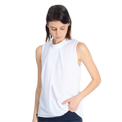 Mock Neck Chiffon Sleeveless Top