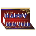 Red and Blue Happy New Year 3D Card - Happy New Year 3D Greeting Card (8x4)