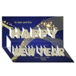 Bright Blue New Year 3D Card - Happy New Year 3D Greeting Card (8x4)