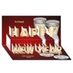 Red and Gold New Year 3D Card - Happy New Year 3D Greeting Card (8x4)