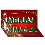 Gold Tree Christmas 3D Card - Merry Xmas 3D Greeting Card (8x4)
