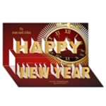 New Year Hour 3D Card - Happy New Year 3D Greeting Card (8x4)