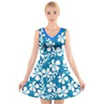 flower blue  - V-Neck Sleeveless Dress