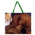 puppy and kitten zippered tote - Zipper Large Tote Bag