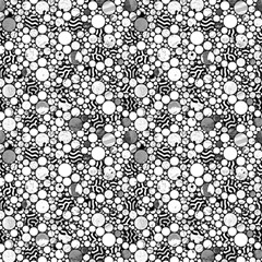 Profusion Circles Black And White By Paysmage Fabric by PAYSMAGE