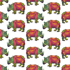 Rhino Walk White By Paysmage Fabric