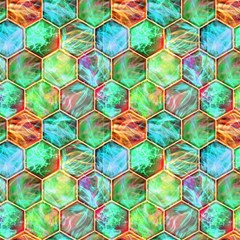 Magic Hexagons Contained Lightning Aqua Jade Orange By Paysmage Fabric