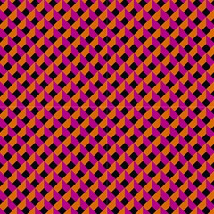 Optical Illusion Pink Orange Grid By Paysmage Fabric