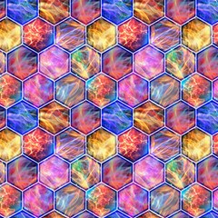 Magic Hexagons Lightning Original By Paysmage Fabric