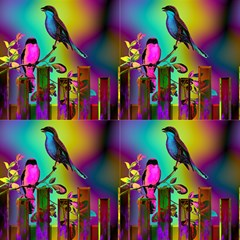 Birds On A Glass Fence 3 Glowing Sky By Paysmage Fabric