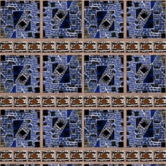 Blue Mosaic And Ropes By Paysmage Fabric