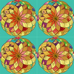Gold Mandala Turquoise By Paysmage Fabric