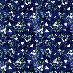 Mistletoe Midnight Blue Original By Paysmage Fabric