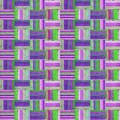 Old Wood Rectangle Tiles Parquetry Purple Lime By Paysmage Fabric