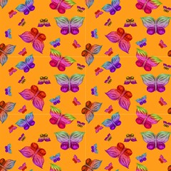 Jungle Butterflies On Orange By Paysmage Fabric by PAYSMAGE