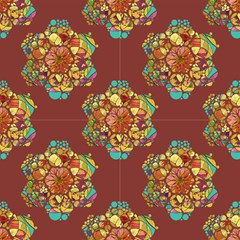 Hexagons Mandala Flower Chestnut Chocolate By Paysmage Fabric