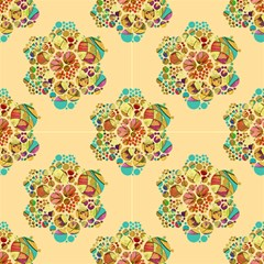 Hexagons Mandala Flower Yellow By Paysmage Fabric