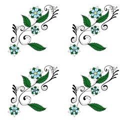 Blue Henna Vine Flowers Fabric