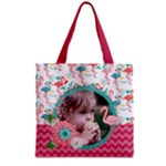 Flamingo - flowers - Grocery Tote Bag