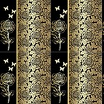 Gold roses and butterflies - Fabric