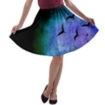 Blue Colored Bird Skirt - A-line Skater Skirt
