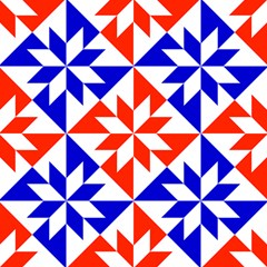 Red White Blue Harlequin Print Fabric