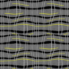 Grey Yellow Black Wavy Pattern Design Fabric by ackelly4