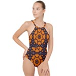 Orange and Black Monarch Butterfly Pattern 1 High Neck One Piece Swimsuit