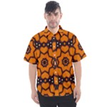 Orange and Black Monarch Butterfly Pattern 1 - Men s Short Sleeve Shirt