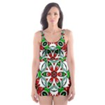 Red and Green Pattern 1 Two Piece Bikini - Skater Dress Swimsuit