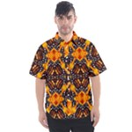 Orange and Black Monarch Butterfly Pattern 5 - Men s Short Sleeve Shirt