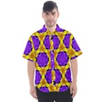Royal Violet Purple with Gold Pattern 13 - Men s Short Sleeve Shirt