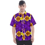 Royal Violet Purple with Gold Pattern 3 - Men s Short Sleeve Shirt