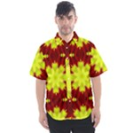 Red Yellow Chysanthemum Pattern Number 6 - Men s Short Sleeve Shirt