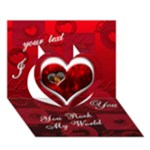 I Heart you Red 3d card - Heart 3D Greeting Card (7x5)