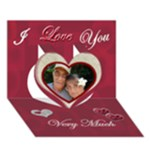 I LOVE You Very Much 3d card - Heart 3D Greeting Card (7x5)