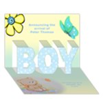 Baby Boy Announcement 3D Card - BOY 3D Greeting Card (7x5)