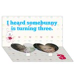 somebunny three - Twin Heart Bottom 3D Greeting Card (8x4)