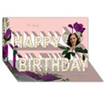 Pink and Mauve Rose Happy Birthday 3D card - Happy Birthday 3D Greeting Card (8x4)