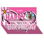 Pink Heart Happy birthday 3D card - Happy Birthday 3D Greeting Card (8x4)