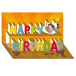 Happy Birthday 3D Card (8x4) Flowers - Happy Birthday 3D Greeting Card (8x4)