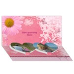 Pink Twin Hearts General 3D Card - Twin Heart Bottom 3D Greeting Card (8x4)