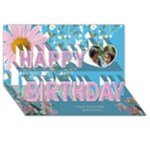 Floral happy Birthday 3d Card - Happy Birthday 3D Greeting Card (8x4)