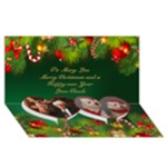 Merry Christmas 3D Twin heart Card - Twin Heart Bottom 3D Greeting Card (8x4)