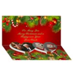 My Merry Christmas 3D Twin heart Card - Twin Heart Bottom 3D Greeting Card (8x4)