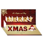 Merry Christmas 3D Card Red - Merry Xmas 3D Greeting Card (8x4)